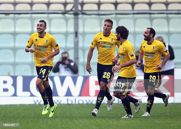 Tommaso Bianchi of Modena celebrates after scoring the opening goal during the Serie B match between Modena FC and Reggina Calcio at Alberto Braglia...