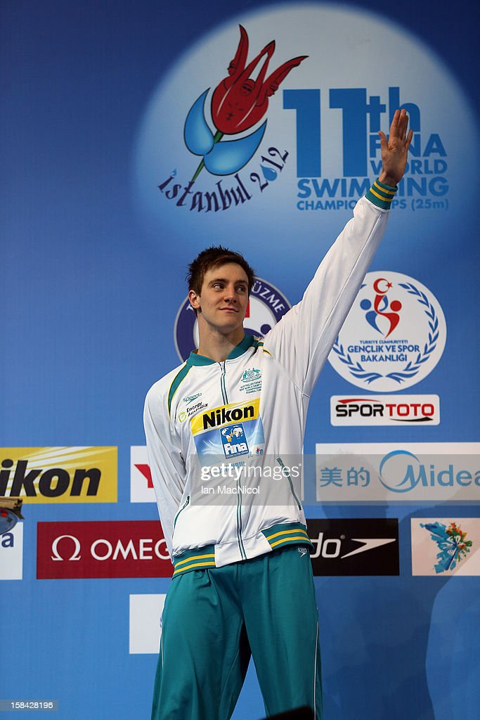 Tommaso D'Orsogna of Australia poses after receiving his silver medal from the men's 200m Backstroke final during day five of the 11th FINA Short Course World Championships at the Sinan Erdem Dome on December 16, 2012 in Istanbul, Turkey.