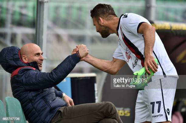 Tommaso Edoardo Giulin President of Cagliari and Panagiotis Tachtsidis celebrate after winning the Serie A match between US Citta di Palermo and...