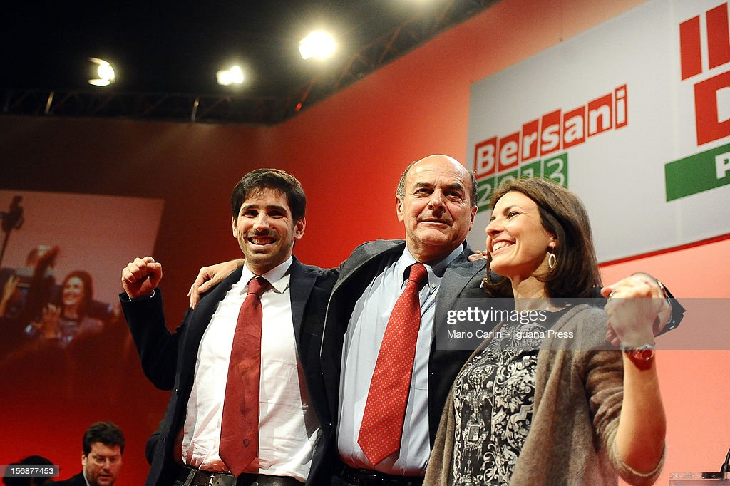 Tommaso Giuntella (L) Pierluigi Bersani (C) Alessandra Moretti (R) attend the convention of the Democratic Party at PalaDozza on November 23, 2012 in Bologna, Italy.