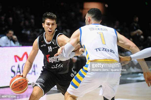 Tommaso Oxilia of Segafredo competes with Dane Diliegro of Tezenis during the match of LNP LegaBasket Serie A2 between Virtus Segafredo Bologna and...