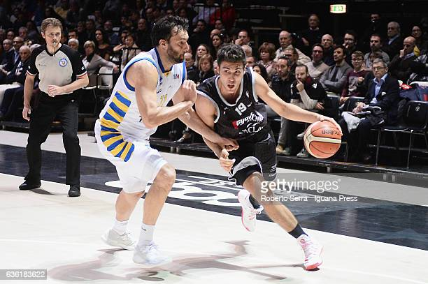 Tommaso Oxilia of Segafredo competes with Giorgio Boscagin of Tezenis during the match of LNP LegaBasket Serie A2 between Virtus Segafredo Bologna...