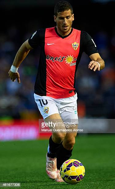 Tommer Hemed of Almeria runs with the ball during the La Liga match between Valencia CF and UD Almeria at Estadi de Mestalla on January 17 2015 in...