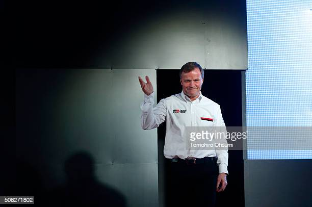 Tommi Makinen head of Toyota Motor Corp's World Rally Championship project waves during a press conference on February 4 2016 in Tokyo Japan Toyota...