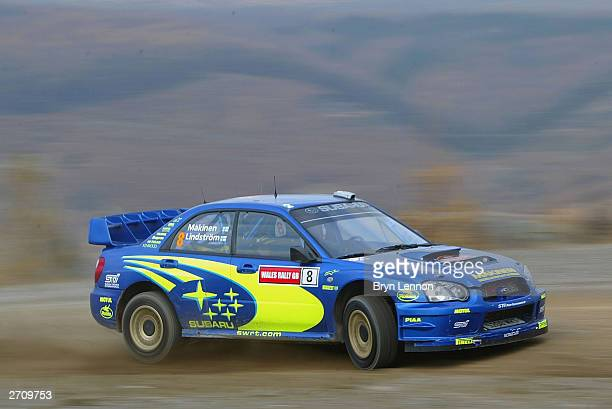 Tommi Makinen of Finland and Subaru in action during the Margam Forest stage of the Wales Rally GB on November 8 2003 in Cardiff Wales