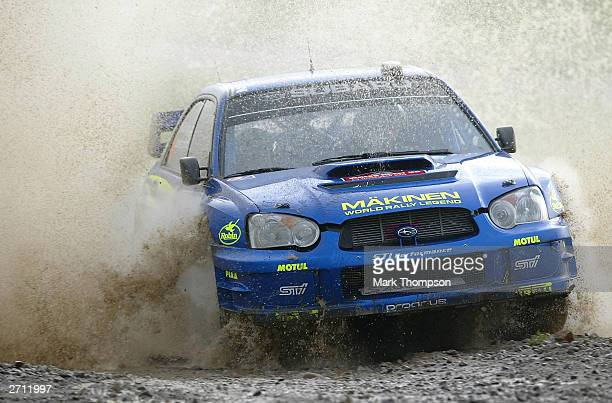 Tommi Makinen of Finland and Subaru in action during the Wales Rally GB at Margam Park on November 9 2003 in Cardiff Wales