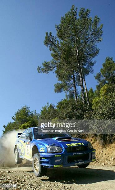 Tommi Makinen of Finland drives his Subaru Impreza during the first leg of the WRC Rally of Cyprus on June 20 2003 in Cyprus