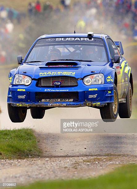 Tommi Makinen of Finland drives his Subaru Impreza during the Special stage 13 of the FIA World Rally Championship in Margam park near Swansea 08...
