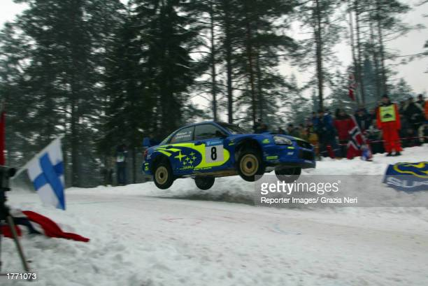 Tommi Makinen of Finland in the Subaru WRC 2003 during the Shakedown of the Swedish Rally in the World Rally Championship event on February 8 2003 in...