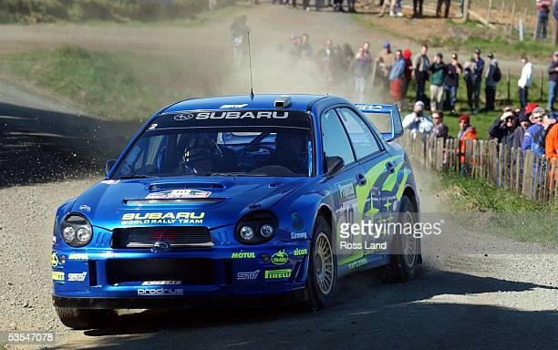 Tommi Makinen slides his Subaru Impreza WRC car into a corner on special stage one at Te Akau South near Raglan on day one of the 2002 Propecia Rally...
