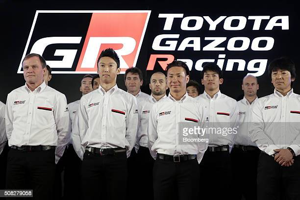 Tommi Makinen team principal of the Toyota Motor Corp Gazoo Racing team competing in the FIA World Rally Championship front row left and racing...