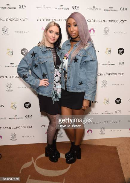 Tommy and Yuki of The Glitter Beats attend the ICONIC PR LND and PerrierJouët art presention of works by Picasso Miro Matisse Chagall at QP LDN on...
