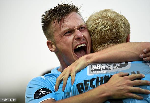 Tommy Bechmann of Sonderjyske and Marvin Pourie celebrate after scoring their first goal during the Danish Superliga match between Sonderjyske and...