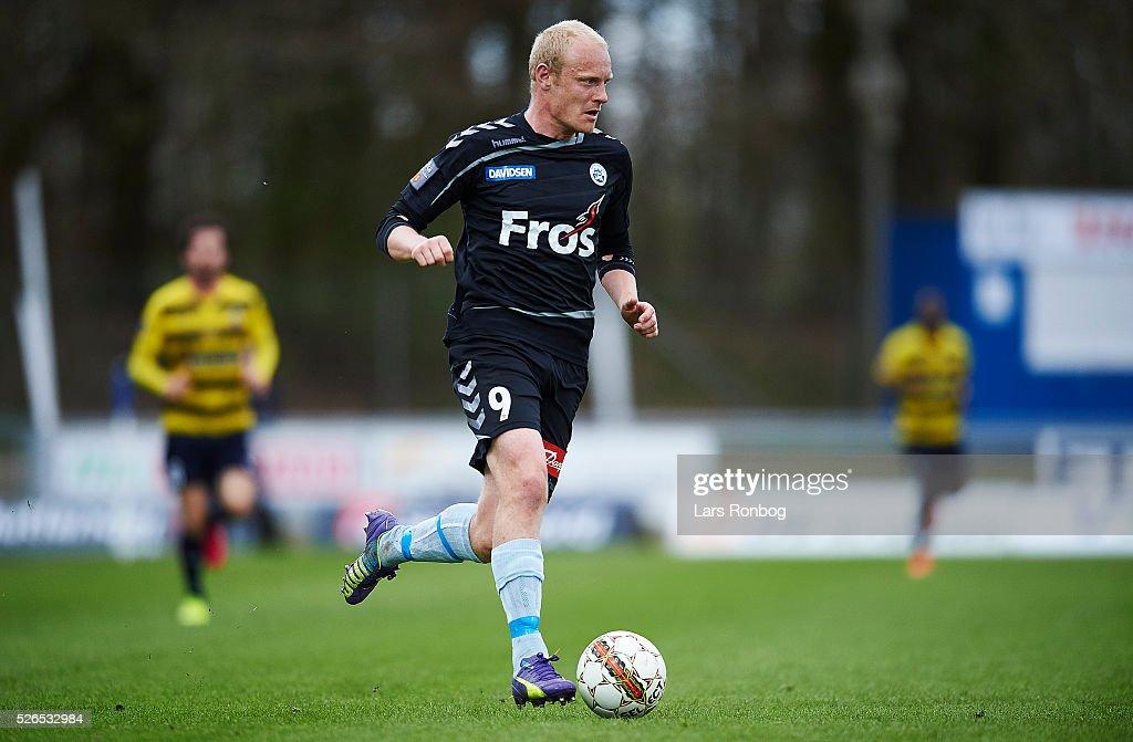 Tommy Bechmann of Sonderjyske controls the ball during the Danish Alka Superliga match between Hobro IK and Sonderjyske at DS Arena on April 30, 2016 in Hobro, Denmark.