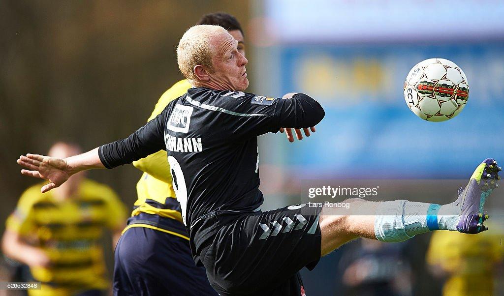 Tommy Bechmann of Sonderjyske in action during the Danish Alka Superliga match between Hobro IK and Sonderjyske at DS Arena on April 30, 2016 in Hobro, Denmark.