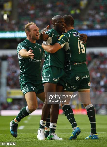 Tommy Bell of London Irish celebrates with Topsy Ojo of London Irish as he scores their second try during the Aviva Premiership match between London...