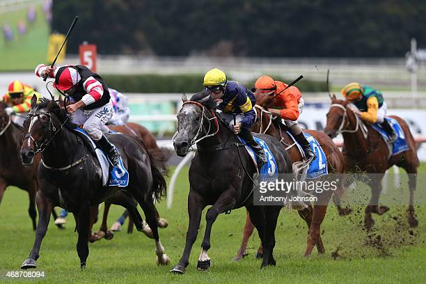 Tommy Berry rides Chautauqua to win race 8 The Darley T J Smith Stakes during Sydney Racing at Royal Randwick Racecourse on April 6 2015 in Sydney...