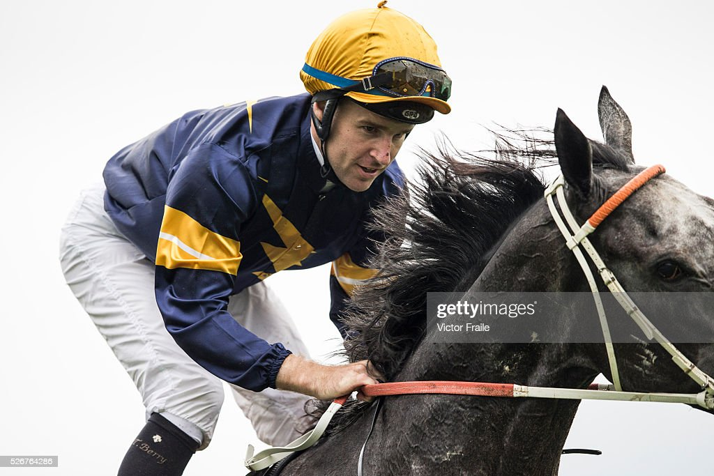 Tommy Berry riding Chautauqua after winning The Chairman's Sprint Prize race at Sha Tin Racecourse on May 1, 2016 in, Hong Ko