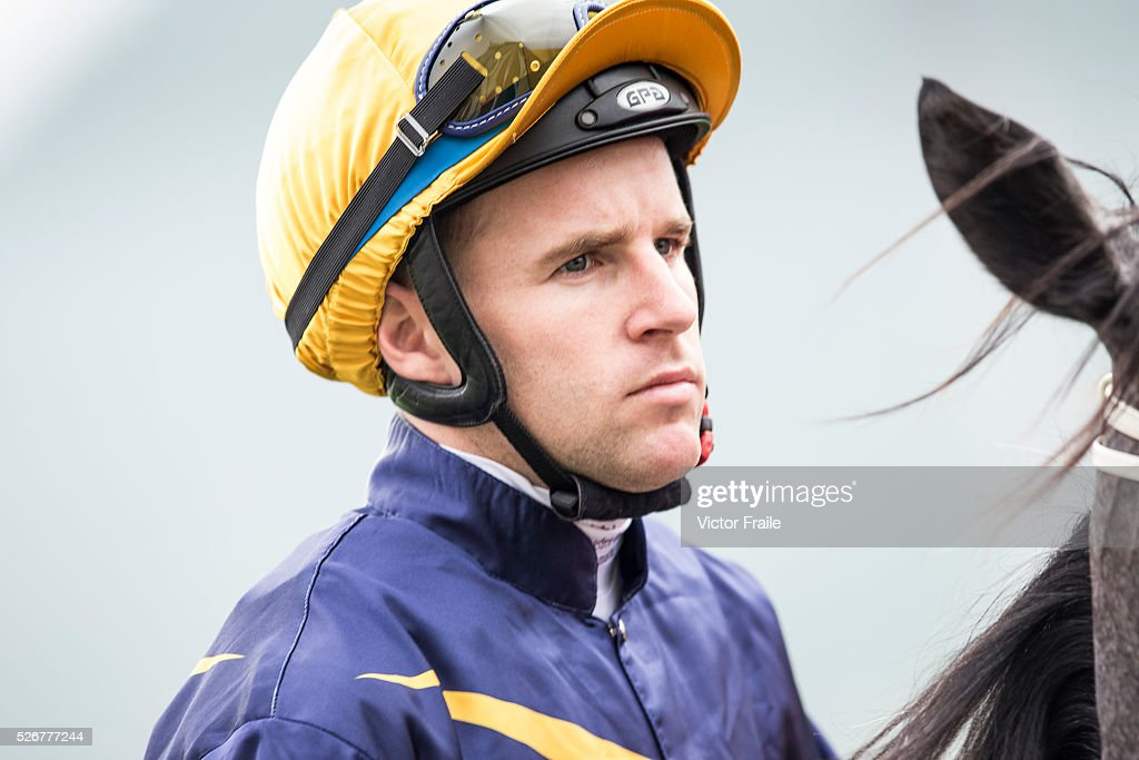 Tommy Berry riding Chautauqua looks on prior their victory at The Chairman's Sprint Prize race at Sha Tin Racecourse on May 1, 2016 in, Hong Ko