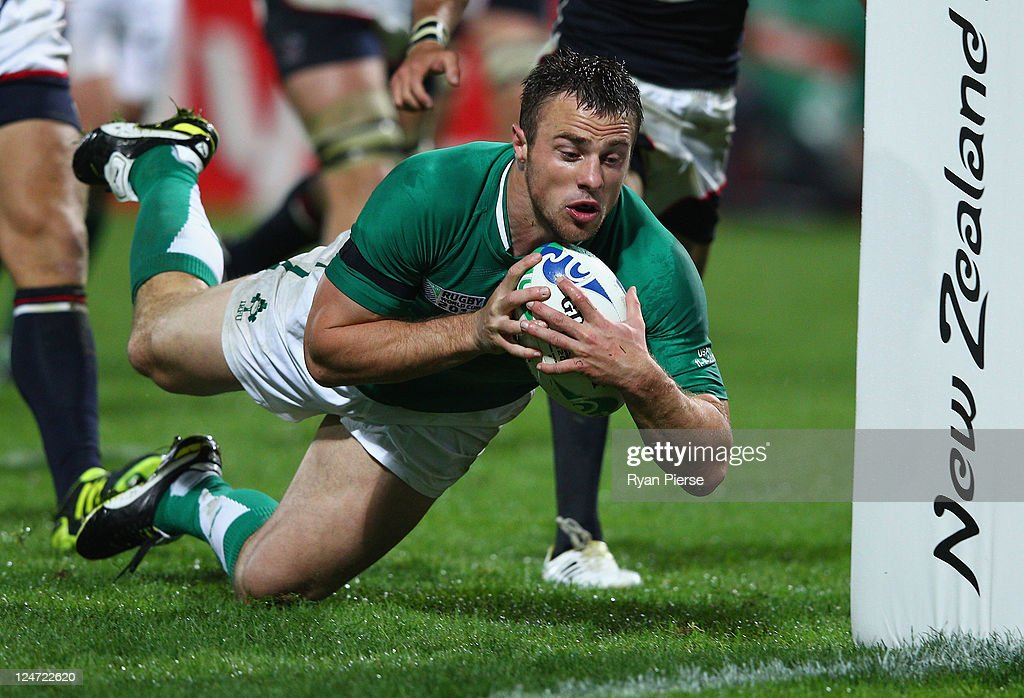 <a gi-track='captionPersonalityLinkClicked' href=/galleries/search?phrase=Tommy+Bowe&family=editorial&specificpeople=556065 ng-click='$event.stopPropagation()'>Tommy Bowe</a> of Ireland goes over to score a try during the IRB 2011 Rugby World Cup Pool C match between Ireland and the USA on September 11, 2011 in New Plymouth, New Zealand.
