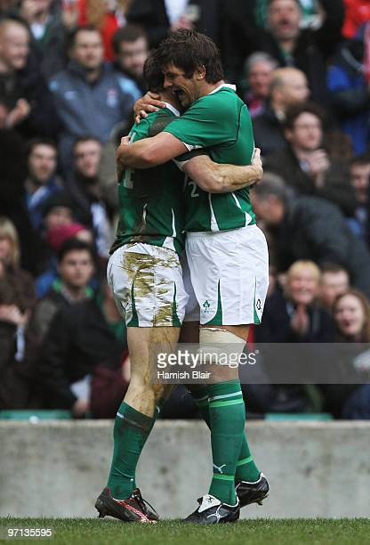 Tommy Bowe of Ireland is congratulated by Donncha O'Callaghan of as he scores a try during the RBS Six Nations match between England and Ireland at...