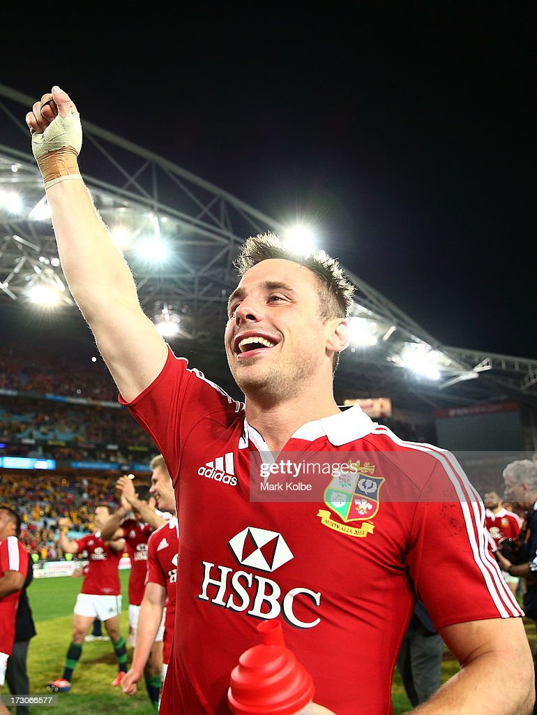 <a gi-track='captionPersonalityLinkClicked' href=/galleries/search?phrase=Tommy+Bowe&family=editorial&specificpeople=556065 ng-click='$event.stopPropagation()'>Tommy Bowe</a> of the Lions celebrates winning the International Test match between the Australian Wallabies and British & Irish Lions at ANZ Stadium on July 6, 2013 in Sydney, Australia.