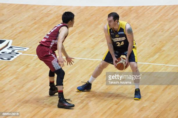 Tommy Brenton of the Tochigi Brex handles the ball during the B League final match between Kawasaki Brave Thunders and Tochigi Brex at Yoyogi...