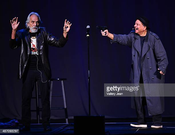 Tommy Chong and Cheech Marin of Cheech Chong perform at Hard Rock Live in the Seminole Hard Rock Hotel Casino on December 15 2013 in Hollywood Florida