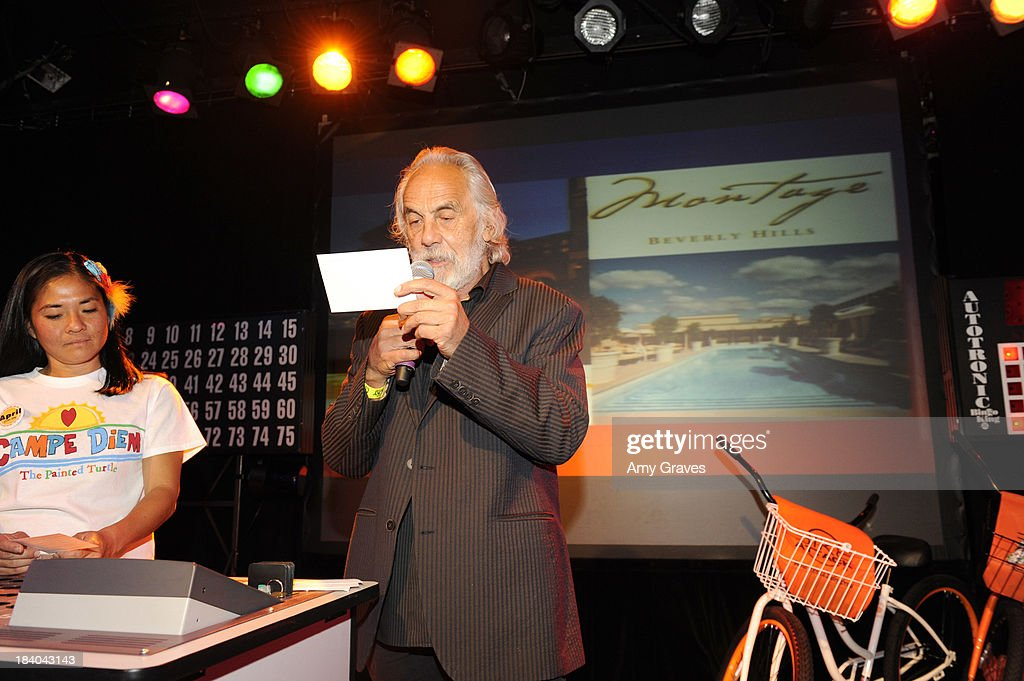 Tommy Chong calls bingo at Bingo At The Roxy to Benefit The Painted Turtle at The Roxy Theatre on October 10, 2013 in West Hollywood, California.