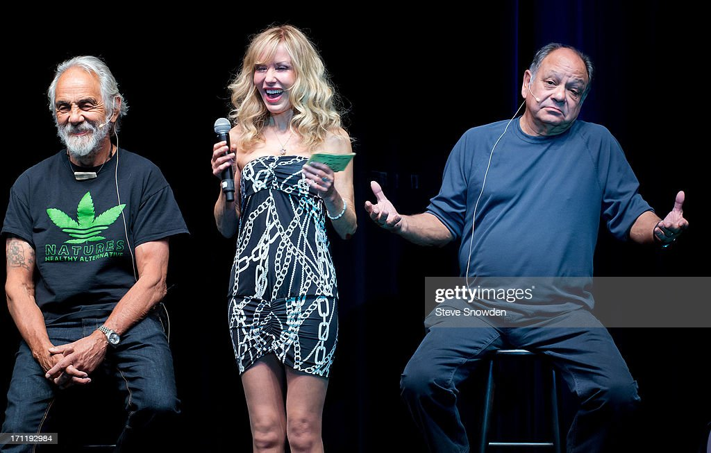 <a gi-track='captionPersonalityLinkClicked' href=/galleries/search?phrase=Tommy+Chong&family=editorial&specificpeople=221475 ng-click='$event.stopPropagation()'>Tommy Chong</a> is joined on stage with wife Shelby Fiddis Chong & <a gi-track='captionPersonalityLinkClicked' href=/galleries/search?phrase=Cheech+Marin&family=editorial&specificpeople=211528 ng-click='$event.stopPropagation()'>Cheech Marin</a> as they open the evening with an audience Q&A at Route 66 Casino's Legends Theater on June 22, 2013 in Albuquerque, New Mexico.