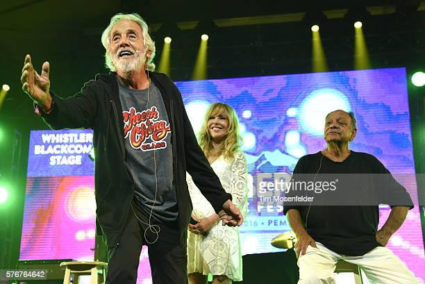 Tommy Chong Shelby Chong and Cheech Marin of Cheech Chong perform during the Pemberton Music Festival on July 16 2016 in Pemberton Canada