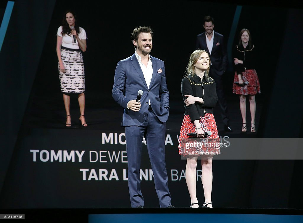 Tommy Dewey, and Tara Lynne Barr of Casual speak onstage at the 2016 Hulu Upftont on May 04, 2016 in New York, New York.