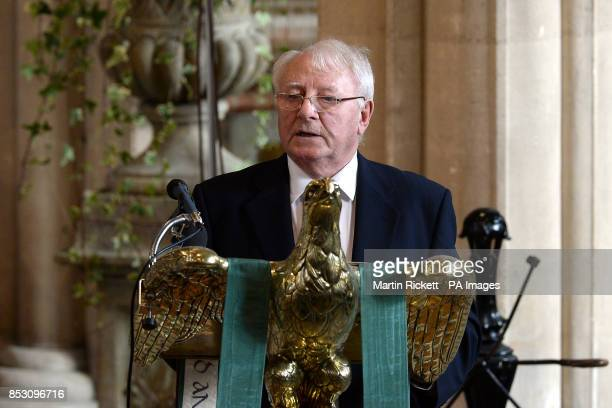 Tommy Docherty talks to the congregation at the funeral of Tom Finney at St John's Minster Preston