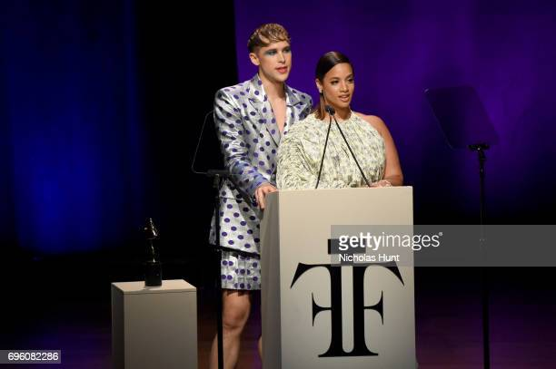 Tommy Dorfman and Dascha Polanco speak on stage at the 2017 Fragrance Foundation Awards Presented By Hearst Magazines at Alice Tully Hall on June 14...