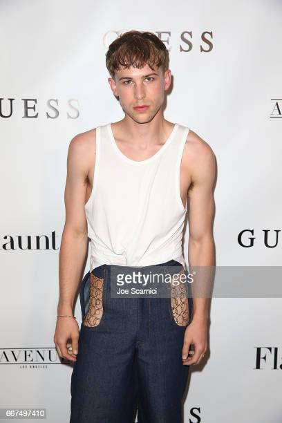 Tommy Dorfman arrives at the Flaunt and Guess celebration of the Alternative Facts Issue hosted by Joe Jonas and DNCE at Avenue on April 11 2017 in...