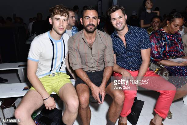 Tommy Dorfman Matthew Risch and actor Andrew Rannells attend Parke Ronen Front Row/Backstage during NYFW Men's at Skylight Clarkson Sq on July 12...