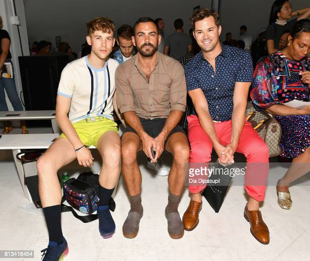 Tommy Dorfman Matthew Risch and Andrew Rannells attend the Parke Ronen Spring 2018 show on July 12 2017 in New York City