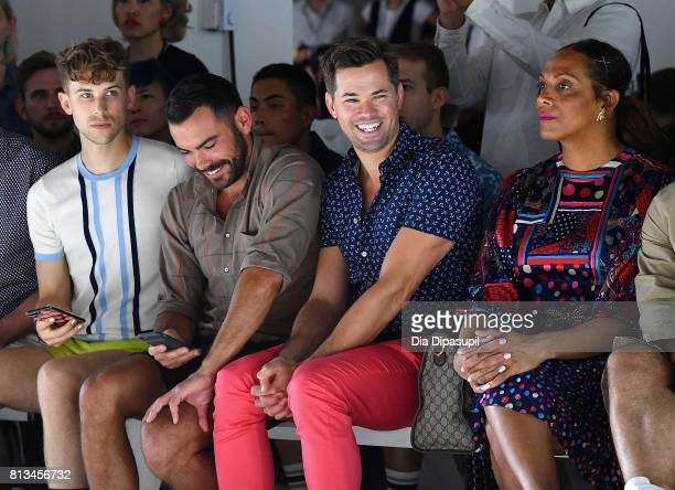 Tommy Dorfman Matthew Risch Andrew Rannells and Lina Bradford attend the Parke Ronen Spring 2018 show on July 12 2017 in New York City