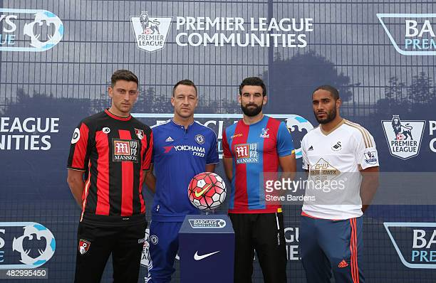 Tommy Elphick of AFC Bournemouth John Terry of Chelsea FC Mile Jedinak of Crystal Palace and Ashley Williams of Swansea City AFC pose for a...