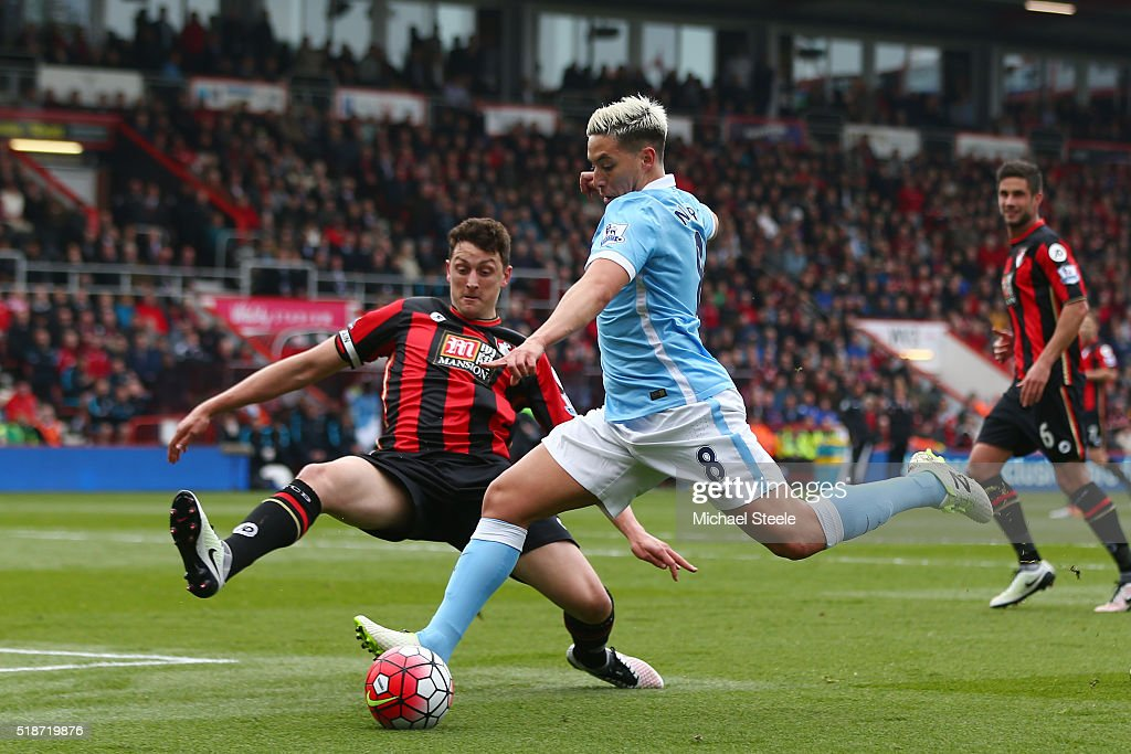 Tommy Elphick of Bournemouth tries to block a shot by Samir Nasri of Manchester City during the Barclays Premier League match between A.F.C. Bournemouth and Manchester City at Vitality Stadium on April 2, 2016 in Bournemouth, England.