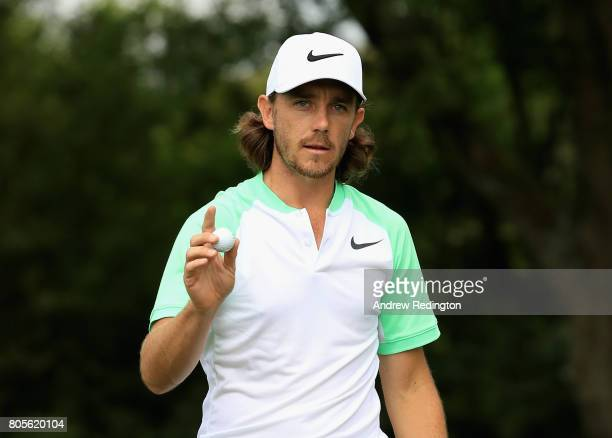 Tommy Fleetwood of England celebrates a berdie on the 13th green during day four of the HNA Open de France at Le Golf National on July 2 2017 in...