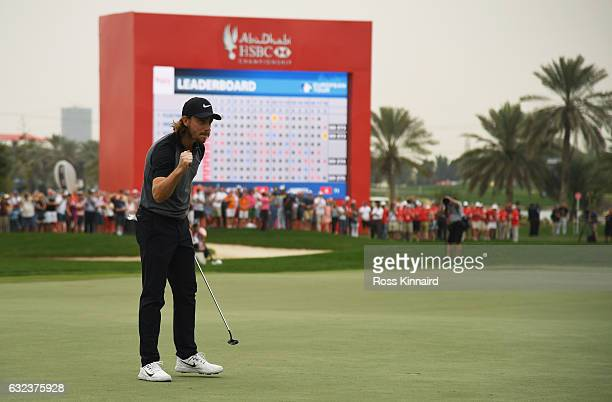 Tommy Fleetwood of England celebrates his birdie on the 18th green during the final round of the Abu Dhabi HSBC Championship at Abu Dhabi Golf Club...