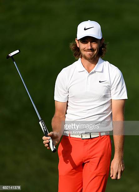Tommy Fleetwood of England celebrates his birdie on the 2nd green during the second round of the Abu Dhabi HSBC Championship at Abu Dhabi Golf Club...