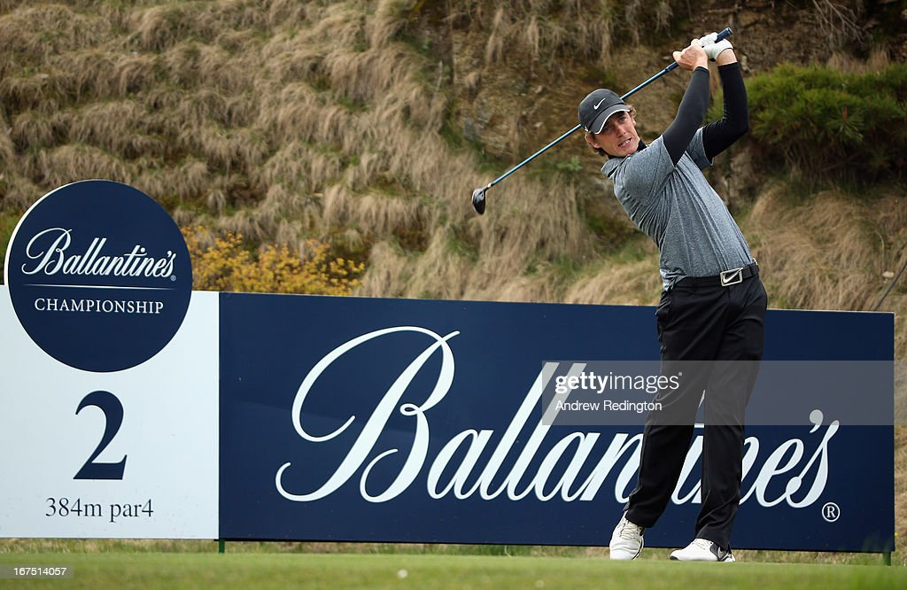 Tommy Fleetwood of England hits his tee-shot on the second hole during the second round of the Ballantine's Championship at Blackstone Golf Club on April 26, 2013 in Icheon, South Korea.