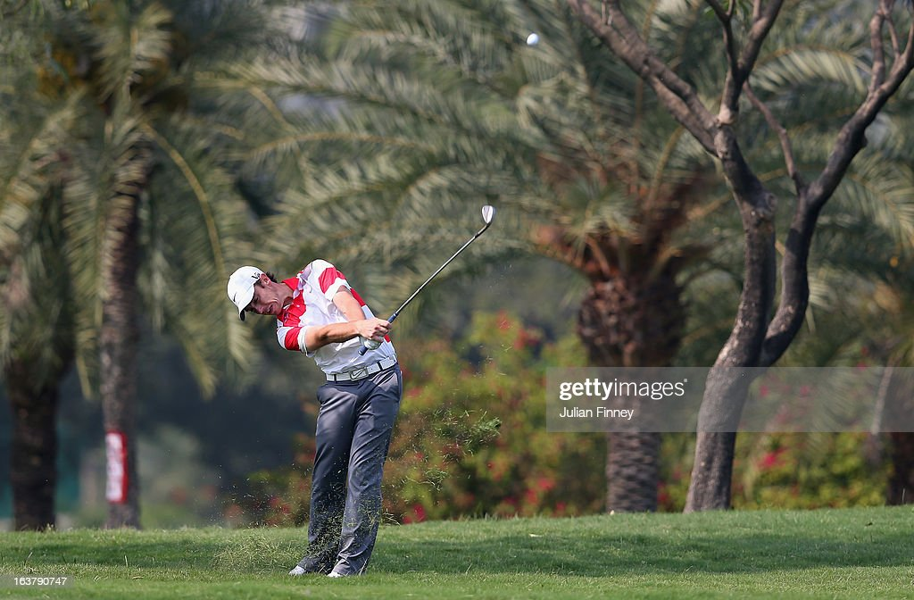 Tommy Fleetwood of England in action during day three of the Avantha Masters at Jaypee Greens Golf Club on March 16, 2013 in Delhi, India.