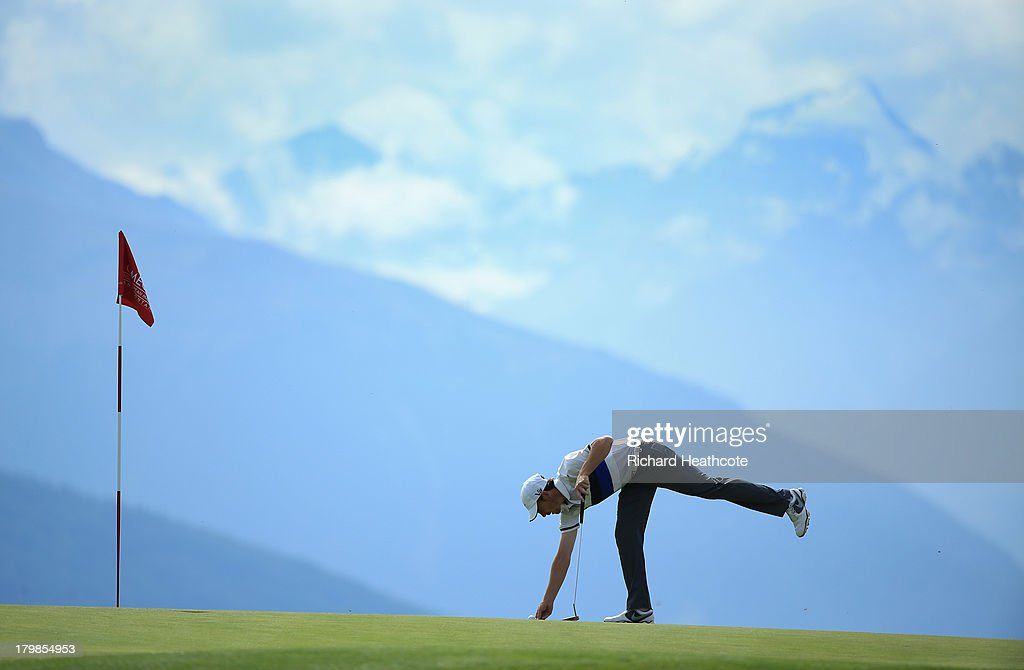 <a gi-track='captionPersonalityLinkClicked' href=/galleries/search?phrase=Tommy+Fleetwood&family=editorial&specificpeople=4450351 ng-click='$event.stopPropagation()'>Tommy Fleetwood</a> of England in action during the third round of the Omega European Masters at the Crans-sur-Sierre Golf Club on September 7, 2013 in Crans, Switzerland.