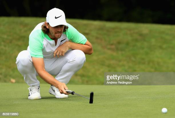 Tommy Fleetwood of England on the 13th green during day four of the HNA Open de France at Le Golf National on July 2 2017 in Paris France