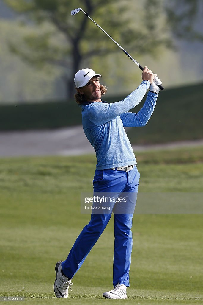Tommy Fleetwood of England plays a shot during the second round of the Volvo China open at Topwin Golf and Country Club on April 30, 2016 in Beijing, China.