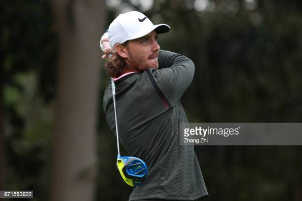 Tommy Fleetwood of England plays a shot during the second round of the Shenzhen International at Genzon Golf Club on April 22 2017 in Shenzhen China