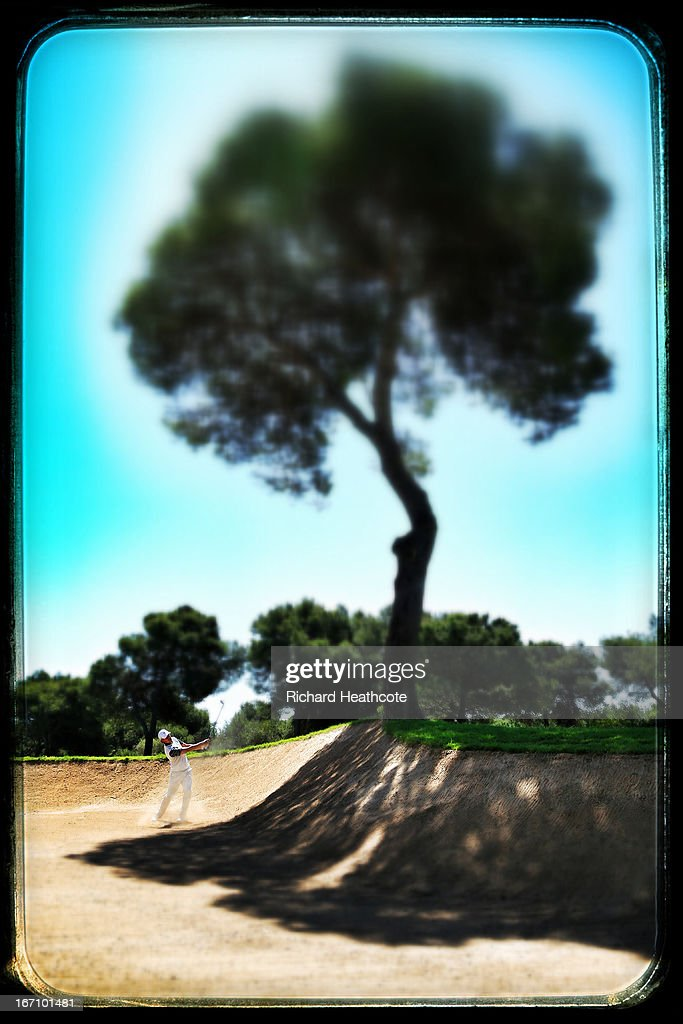 Tommy Fleetwood of England plays from a bunker on the 3rd during the Third round of the Open de Espana at Parador de El Saler on April 20 2013 in...